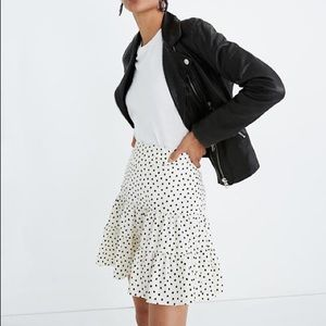 Tiered mini skirt in ink brush dots